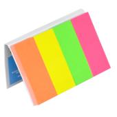 Закладки бумажные с клейким слоем Donau 7576001PL, 20х50 мм, 4 цв х 50 л, неон, ассорти