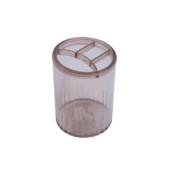 Стакан-подставка пластиковый Арника, 4 отделения, дымчатый (81980)