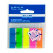 Закладки пластиковые с клейким слоем Buromax BM.2301-98, 45х12 мм, 5х20 л, неон, ассорти