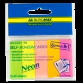 Закладки бумажные с клейким слоем Buromax 45x15мм, 5х30л., ассорти неон (BM.2331-98)
