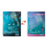 Записная книга Buromax DOUBLE А5, на пружине, 96л., клетка, твердый ламинированный переплет, бирюзовый (BM.24571101-06)