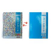 Записная книга Buromax DOUBLE А5, на пружине, 96л., клетка, твердый ламинированный переплет, голубой (BM.24571101-14)