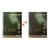 Записная книга Buromax DOUBLE А5, на пружине, 96л., клетка, твердый ламинированный переплет, зелено-коричн (BM.24571101-86)