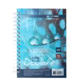 Записная книга Buromax DOUBLE А6, на пружине, 96л., клетка, твердый ламинированный переплет, бирюзовый (BM.24671101-06)