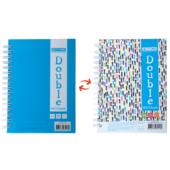 Записная книга Buromax DOUBLE А6, на пружине, 96л., клетка, твердый ламинированный переплет, голубой (BM.24671101-14)