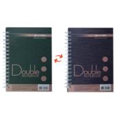 Записная книга Buromax DOUBLE А6, на пружине, 96л., клетка, твердый ламинированный переплет, зелено-коричн (BM.24671101-86)