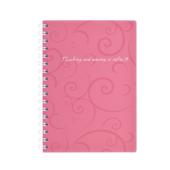 Книга для записей на пружине Buromax Barocco, А6, 80 л, клетка, пласт. обложка, розовый (BM.2589-610)
