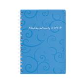 Книга для записей на пружине Buromax Barocco, А6, 80 л, клетка, пласт. обложка, голубой (BM.2589-614)