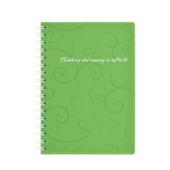 Книга для записей на пружине Buromax Barocco, А6, 80 л, клетка, пласт. обложка, салатовый (BM.2589-615)