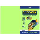 Бумага цветная Buromax, А4, 80г/м2, NEON, зеленый, 50 листов (BM.2721550-04)