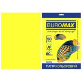 Бумага цветная Buromax, А4, 80г/м2, NEON, желтый, 50 листов (BM.2721550-08)
