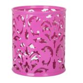 Подставка для ручек металлическая Buromax Barocco, круглая, розовый (BM.6204-10)