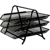 Лоток для паперів горизонтальний 3 в 1 Buromaх, металевий, чорний (BM.6252-01)
