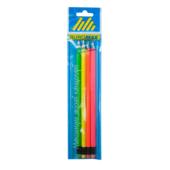Карандаш графитовый Buromax Neon, HB, ластик,неоновый, 4шт./блистер (BM.8520-4)
