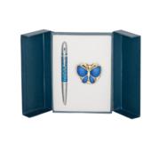 Набор подарочный Langres Papillon: ручка шариковая + гачек для сумки, синий (LS.122010-02)