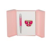 Набор подарочный Langres Papillon: ручка шариковая + гачек для сумки, розовый (LS.122010-10)