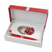 Набор подарочный Langres Elegance: ручка шариковая + гачек для сумки, красный (LS.122029-05)