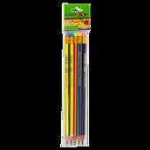 Карандаш графитовый ZiBi Rainbow HB с ластиком 5 шт. в блистере (ZB.2320-5)