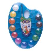 Краски акварельные ZiBi 12 цветов на синей палитре с кистью (ZB.6558-02)