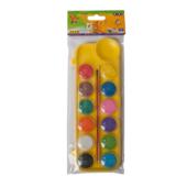 Краски акварельные ZiBi ZB.6559-08, 12 цветов, + кисть, желтый