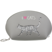 Пенал ZiBi Cat Lover декорированный глиттером 21x12x8 см Серый (ZB.702204)