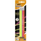 Набор карандашей чернографитовых Bic Evolution Fluo с ластиком 4 шт (bc942053)