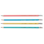 Карандаш графитовый Buromax Pastel HB с трехгранным деревянным корпусом пастельных цветов с ластиком (BM.8526-20)