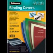 Обложки картонные Fellowes Delta, под кожу, черные, А4, 250 г/м2, 100 шт. (f.53704)