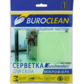 Салфетка для стекла, микрофибра, BuroClean EuroStandart 30х30 см (10200125)