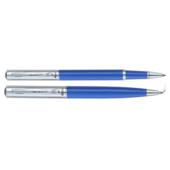 Комплект ручек Regal (шариковая и роллер) с глянцевым лакированным корпусом синего цвета в подарочном футляре (R131222.L.RB)