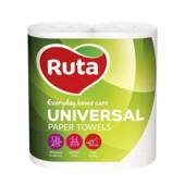 Полотенца целлюлозные Ruta Universal двухслойные 185х225 мм 2 рулона на гильзе 11,5 м (62 листа) Белые (rt.40730)